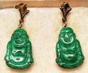 Carved Jade Buddha earrings